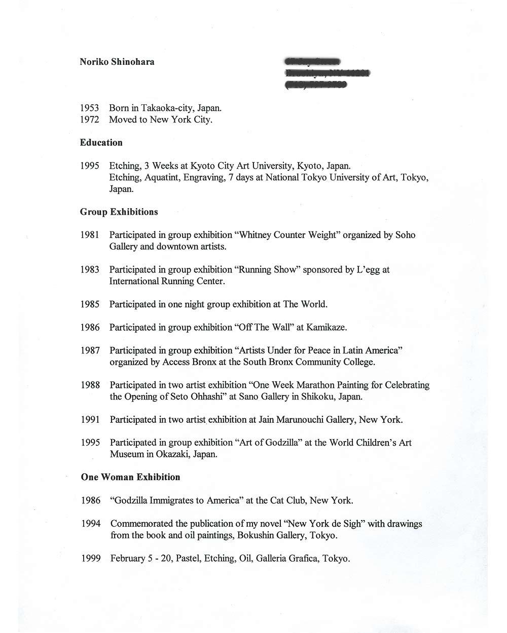 Noriko Shinohara's Resume